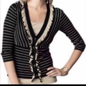 CABi The Flirt Black & Tan Ruffle Cardigan Sweater
